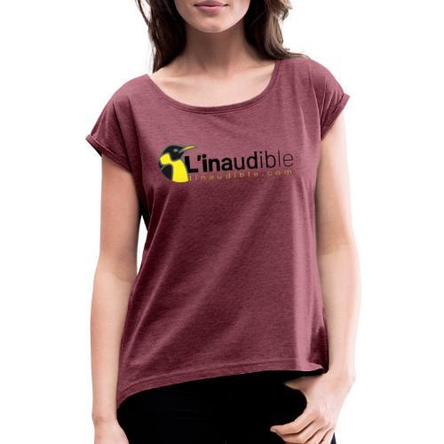 linaudible2020noir - T-shirt à manches retroussées Femme