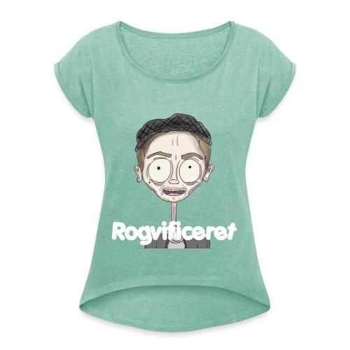 Rogvificeret Merch - Hvid tekst. - Dame T-shirt med rulleærmer