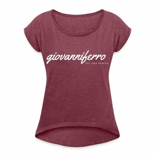 logo high resolution whit - Frauen T-Shirt mit gerollten Ärmeln
