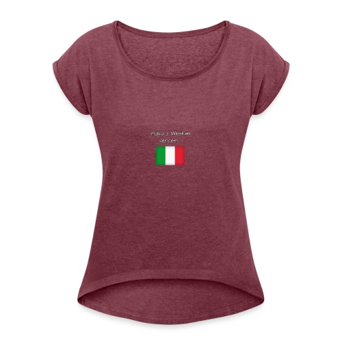 Włosko-polska - Koszulka damska z lekko podwiniętymi rękawami