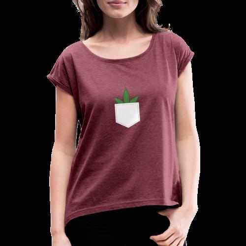 Brusttasche mit Marihuana / Cannabisblatt - Frauen T-Shirt mit gerollten Ärmeln