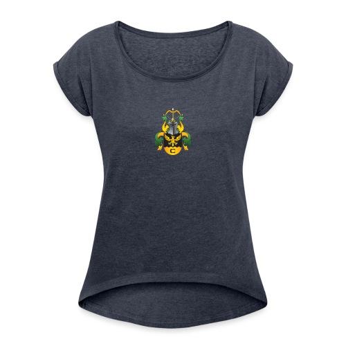 vaakuna, iso - Naisten T-paita, jossa rullatut hihat