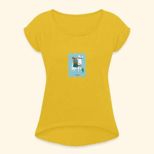 Lama Gang - Frauen T-Shirt mit gerollten Ärmeln