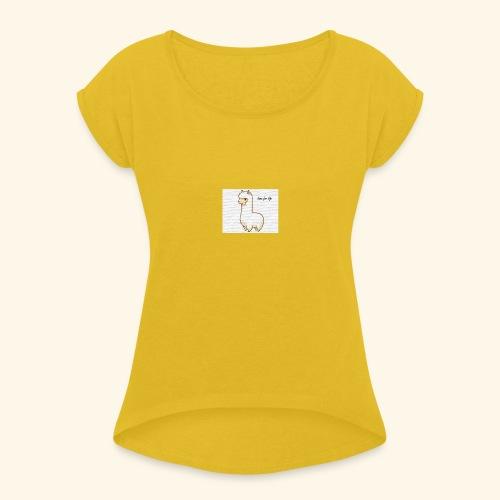 lama / alpaca - Frauen T-Shirt mit gerollten Ärmeln