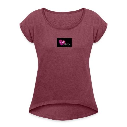 YR LIFE NOIR - T-shirt à manches retroussées Femme