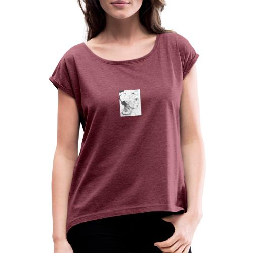 art de una hermosa mujer - Camiseta con manga enrollada mujer
