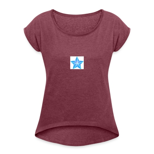 blue themed christmas star 0515 1012 0322 4634 SMU - Women's T-Shirt with rolled up sleeves