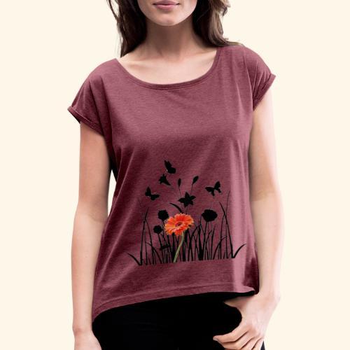 Flower Pover - Frauen T-Shirt mit gerollten Ärmeln
