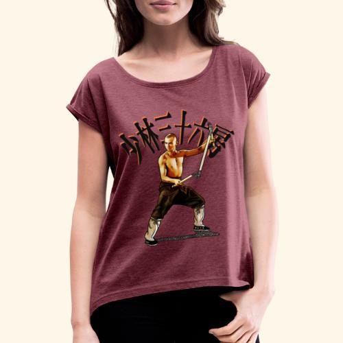 Shaolin Warrior Monk - 3 Section Staff - Vrouwen T-shirt met opgerolde mouwen