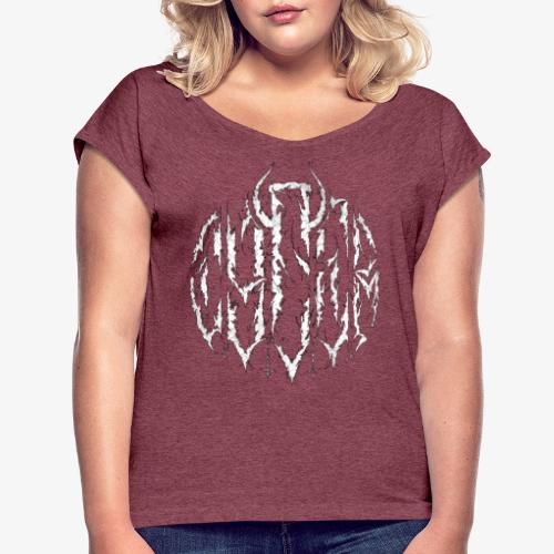 Logo 4 W - Frauen T-Shirt mit gerollten Ärmeln