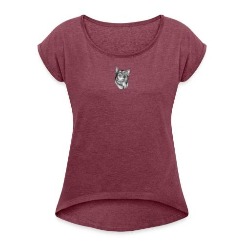 Hey Baby - Frauen T-Shirt mit gerollten Ärmeln