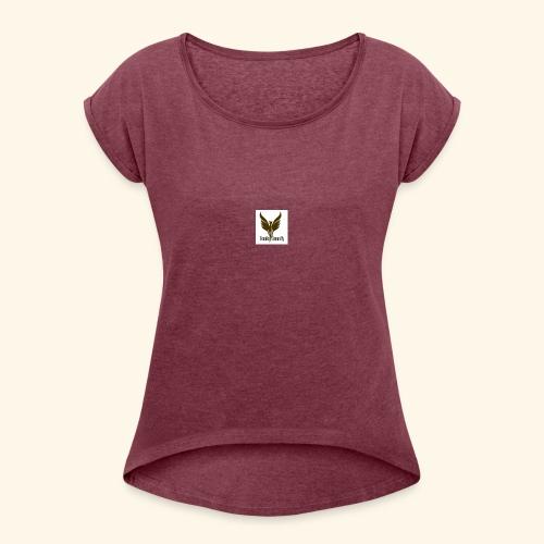 feeniks logo - Naisten T-paita, jossa rullatut hihat