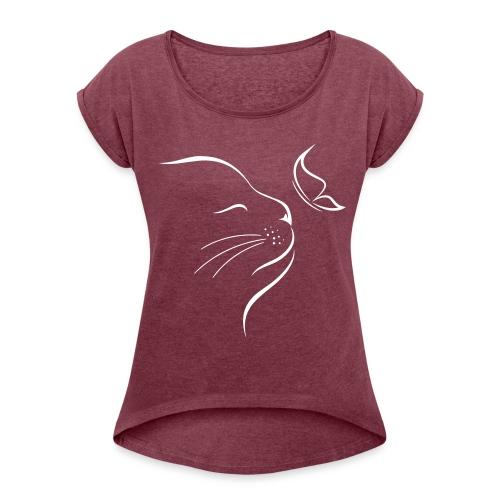 Vorschau: cat butterfly - Frauen T-Shirt mit gerollten Ärmeln