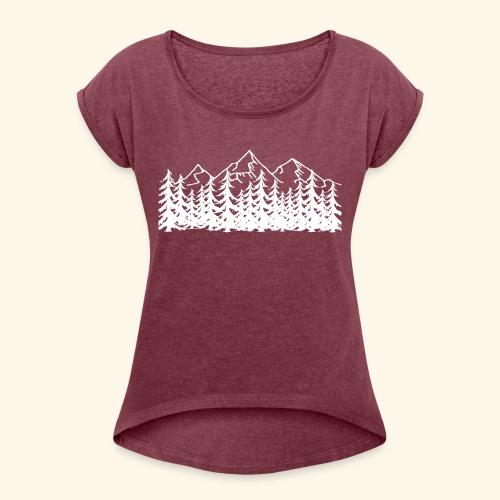 Berge Wälder weiß Mountains Woods - Frauen T-Shirt mit gerollten Ärmeln