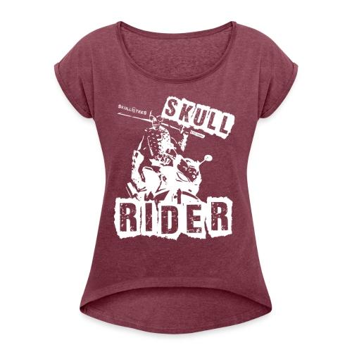skullrider weiss png - Frauen T-Shirt mit gerollten Ärmeln