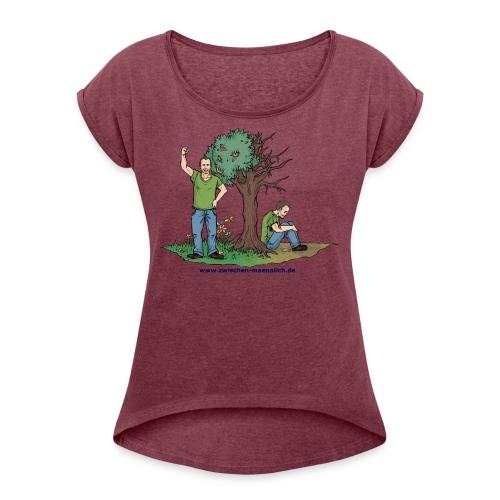zwischen maennlich - Frauen T-Shirt mit gerollten Ärmeln