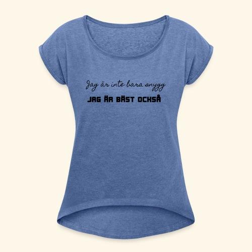 Bäst - T-shirt med upprullade ärmar dam