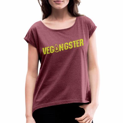 Vegangster Shirt Veganer T-Shirt Geschenk - Frauen T-Shirt mit gerollten Ärmeln