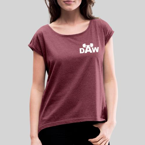 DAW white groot middle chest and back - Women's T-Shirt with rolled up sleeves
