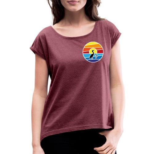Bald isch's wieder schee-Fest 2021 (weiße Schrift) - Frauen T-Shirt mit gerollten Ärmeln