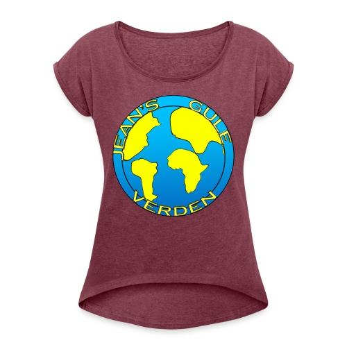 jean's gule verden logo earth - T-skjorte med rulleermer for kvinner