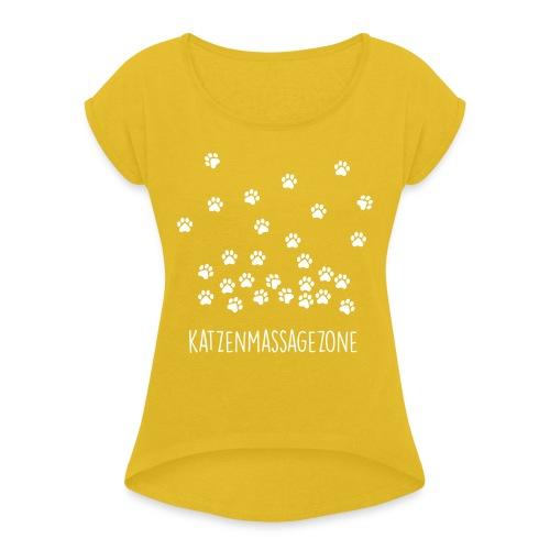 Vorschau: Katzen Massage Zone - Frauen T-Shirt mit gerollten Ärmeln