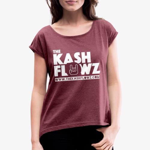 The Kash Flowz Official Web Site White - T-shirt à manches retroussées Femme
