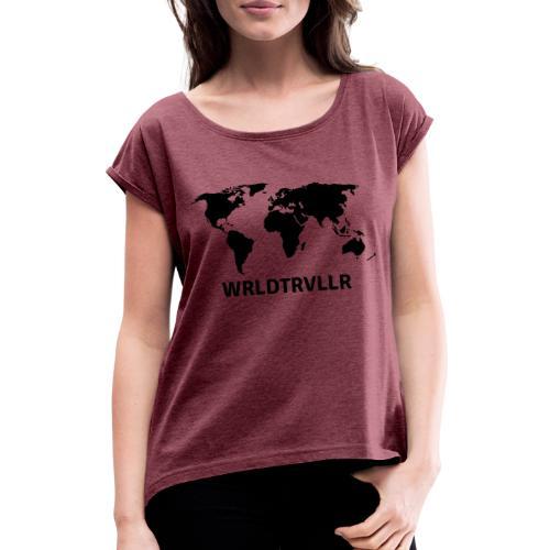 Worldtraveller - Frauen T-Shirt mit gerollten Ärmeln