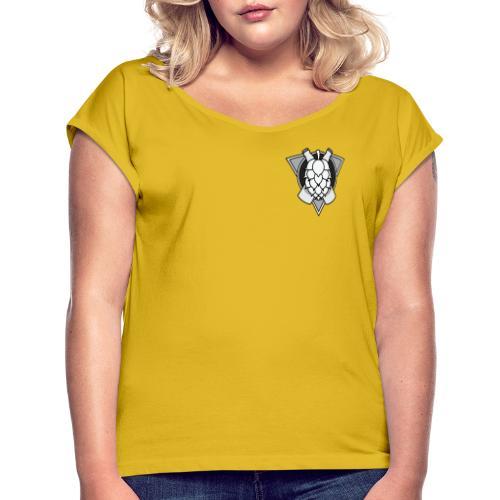 Mighty Hops Logo Black and white - T-shirt med upprullade ärmar dam