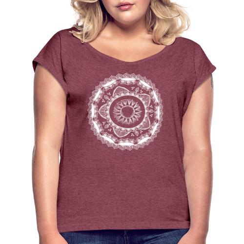 Yoga mandala for Sun salutations - T-skjorte med rulleermer for kvinner