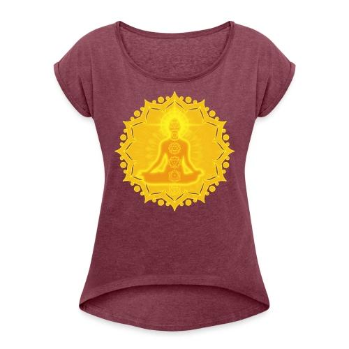 Yoga Lotus Meditation Chakren III - Frauen T-Shirt mit gerollten Ärmeln