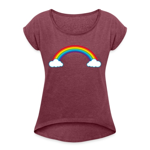 Regenbogen Sonne Herz Rainbow Cloud Heart - Women's T-Shirt with rolled up sleeves