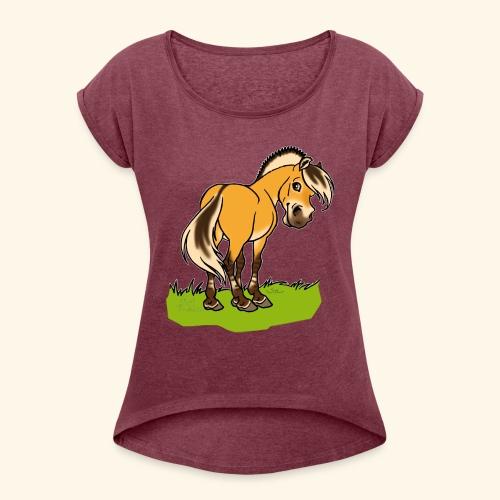 Freundliches Fjordpferd (Ohne Text) Weisse Umrisse - T-shirt à manches retroussées Femme