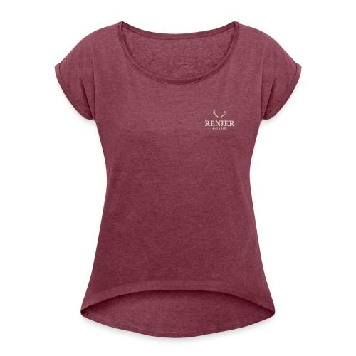 Logo B - Frauen T-Shirt mit gerollten Ärmeln
