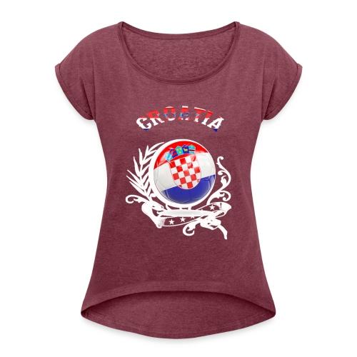 T SHIRT CROATIA Kroatien - Frauen T-Shirt mit gerollten Ärmeln