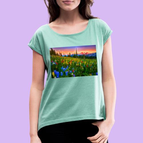 Bagliori in montagna - Maglietta da donna con risvolti