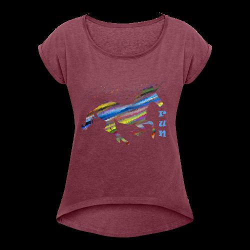 kunterbuntes Einhorn - Frauen T-Shirt mit gerollten Ärmeln