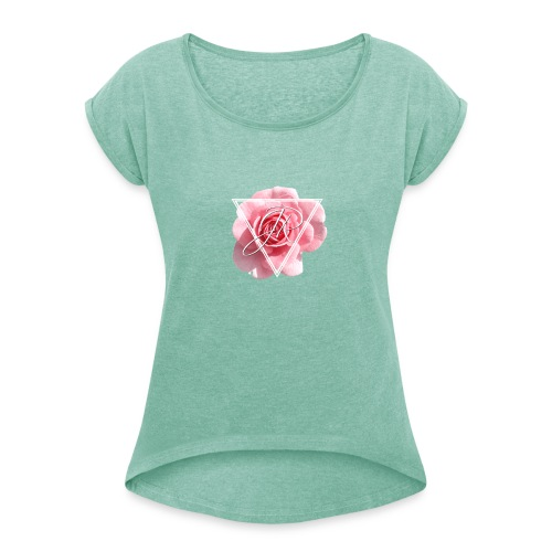 Rose Logo - Women's T-Shirt with rolled up sleeves