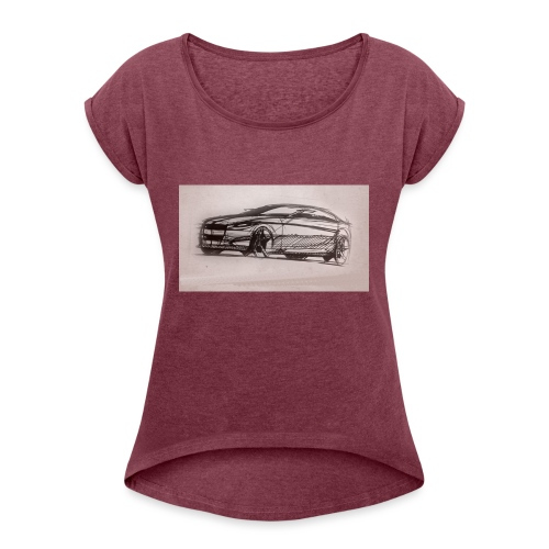 car - Women's T-Shirt with rolled up sleeves