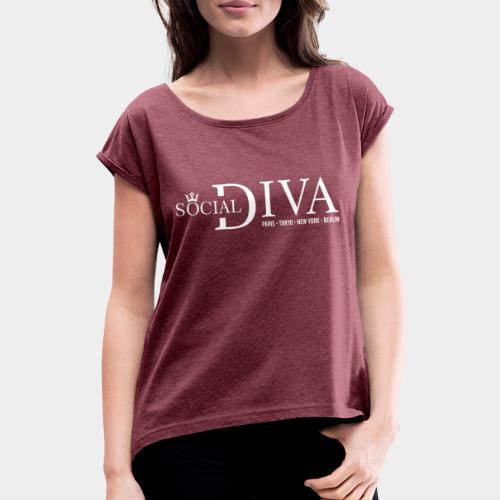 mode diva sociale - T-shirt à manches retroussées Femme