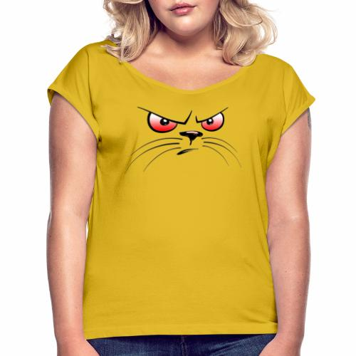 GATTO ARRABBIATO OCCHI ROSSI - ANGRY CAT RED EYES - Maglietta da donna con risvolti