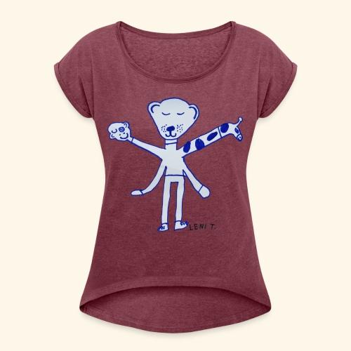 LeniT Teddy With a Twist - Naisten T-paita, jossa rullatut hihat