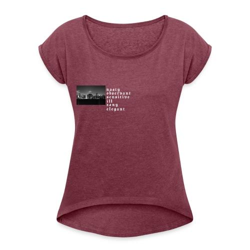 NoSize | Dark - Frauen T-Shirt mit gerollten Ärmeln
