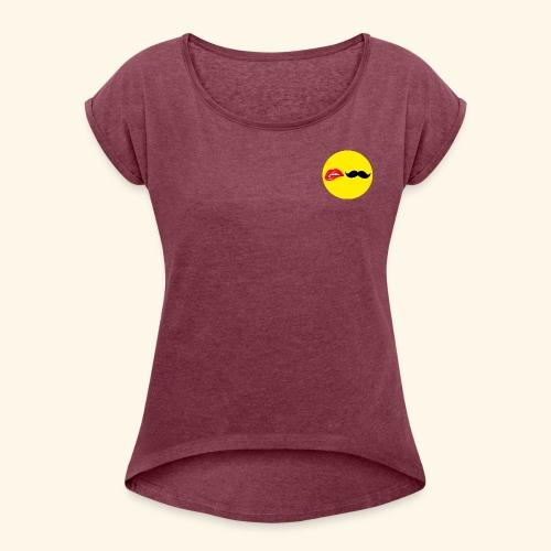 Mustache Lips - Dame T-shirt med rulleærmer