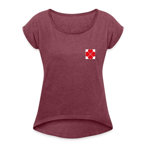 LoveHeartCloverLeaves - Women's T-Shirt with rolled up sleeves