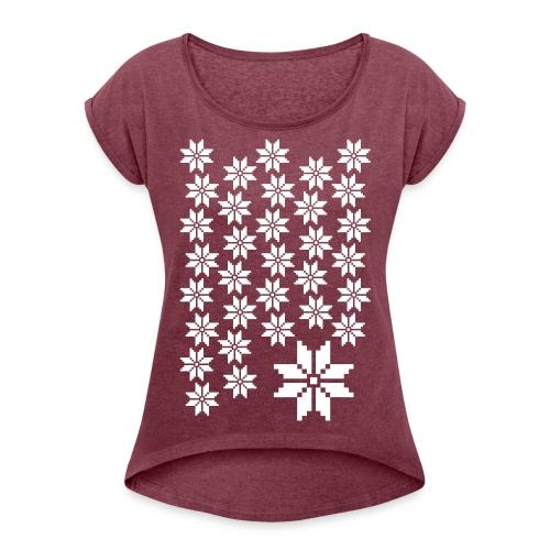 33 Schneeflocken Norweger Muster - Frauen T-Shirt mit gerollten Ärmeln