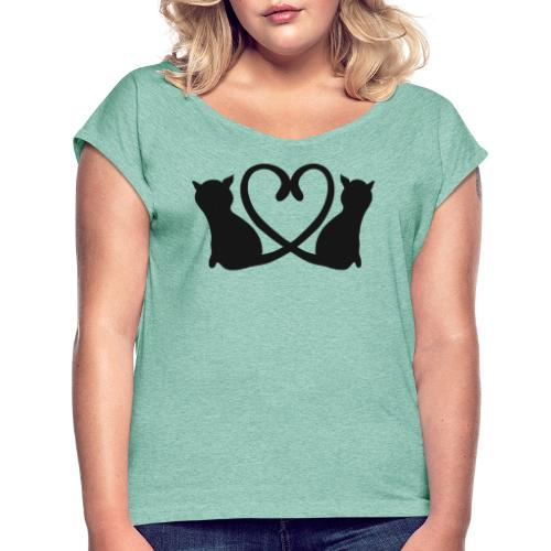 Katzen bilden ein Herz mit ihren Schwänzen - Frauen T-Shirt mit gerollten Ärmeln