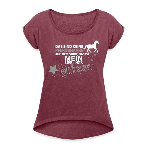 Vorschau: Glitzer Pferd - Frauen T-Shirt mit gerollten Ärmeln