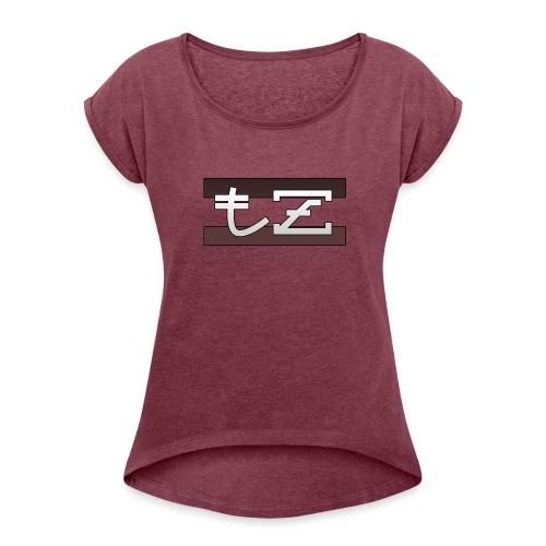 Tz background - T-shirt à manches retroussées Femme