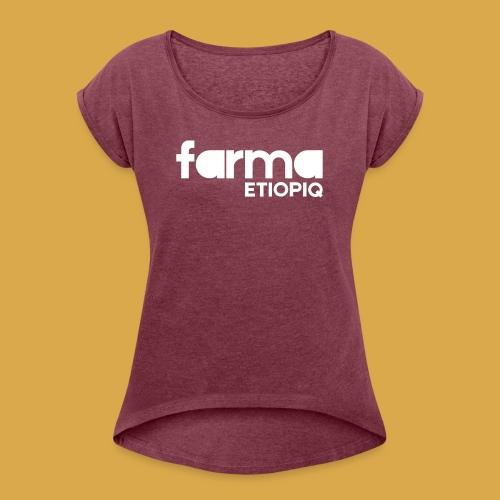 Farma Etiopiq straight logo - T-shirt med upprullade ärmar dam